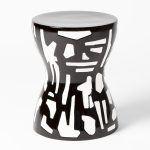 Global Views | Ashley Childer | Abstract Stool-Black/White